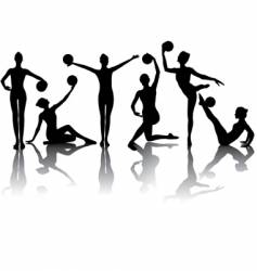 Gymnastic silhouettes vector