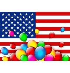 American flag greeting with balloons vector