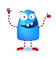 Blue funny cute little smiling monster vector image