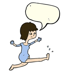 Cartoon happy woman kicking with speech bubble vector