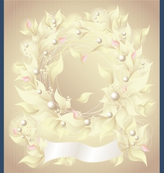 Background with flowers pearls petals and ribbon vector image