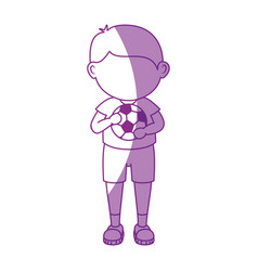 Boy with soccer ball cartoon vector