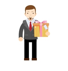 Businessman holding a big gift box vector