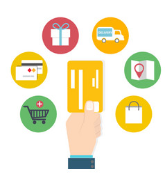card usage online shoping concept vector image