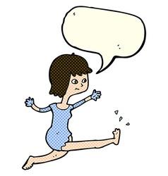 Cartoon happy woman kicking with speech bubble vector