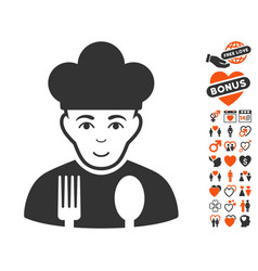 Cook icon with dating bonus vector