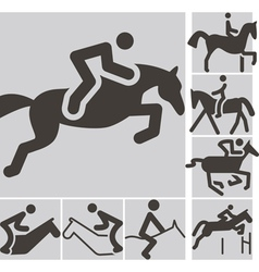 equestrian icons vector image