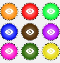 Eye publish content icon sign a set of nine vector