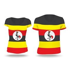 Flag shirt design of uganda vector