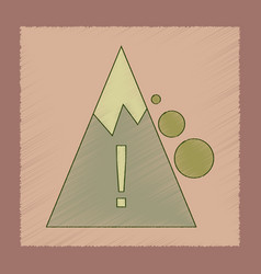 Flat shading style icon mountain stones fall vector