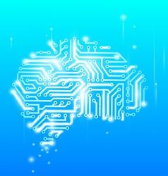 Human brain as a computer chip vector