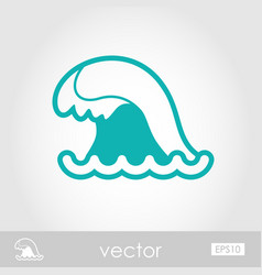 Ocean wave outline icon summer vacation vector