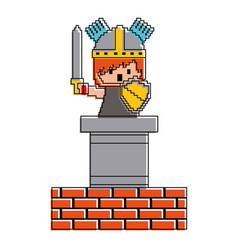 Pixel character knight game wall brick vector