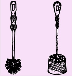 Plastic toilet brush vector