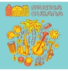 Salsa cuban music and dance with vector image vector image