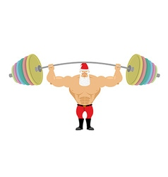 Santa claus and barbell bench press barbell above vector