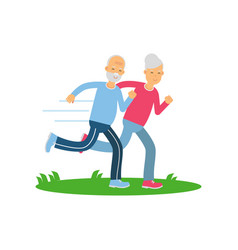 Senior couple running together pensioner people vector