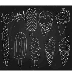 Set ice cream - sketched dessert on vector