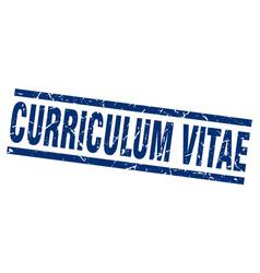 Square grunge blue curriculum vitae stamp vector