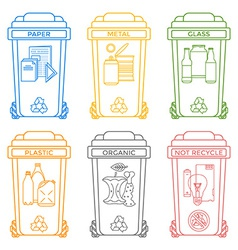 Various colors outline separated garbage bins vector