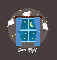Windows open with sheeps to good dream vector