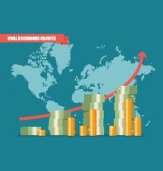 World economic growth infographic vector