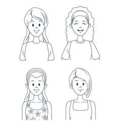 young girls cartoon vector image vector image