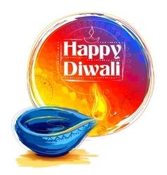 Burning watercolor diya on happy diwali holiday vector