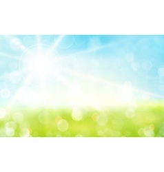 Green blue sky sun spring bokeh blurry vector