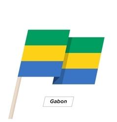 Gabon ribbon waving flag isolated on white vector