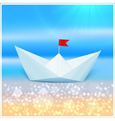 Little paper boat in a blue sea vector