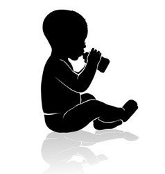 Silhouette baby sitting drinking from baby bottle vector