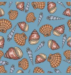 Seashell collection hand drawn aquatic doodle vector