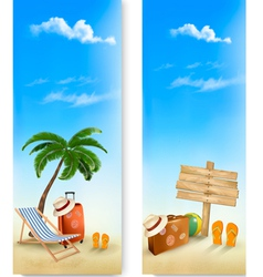 Two summer travel banners vector