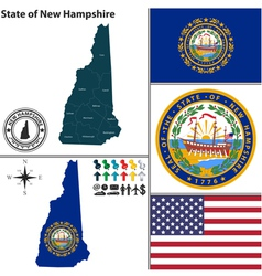 Map of new hampshire with seal vector
