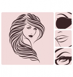 Long curly hairstyle vector