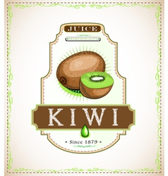 Ripe kiwi fruit on a juice or fruit product label vector
