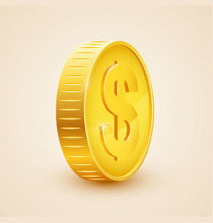 3d realistic gold coin icon us dollar money vector image