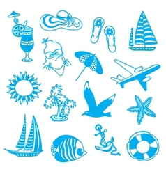 Blue icons symbolizing summer vacation vector