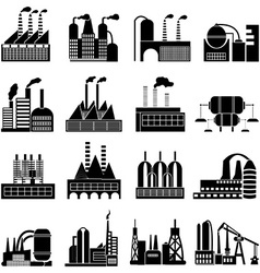 Factory buildings icons set vector