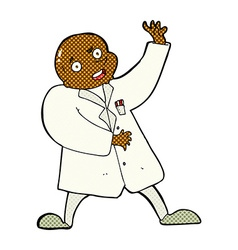 Comic cartoon mad scientist vector