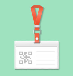 Identification badge card with bar and qr code vector