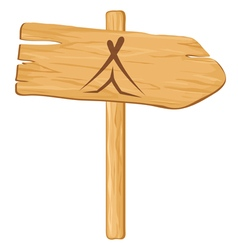 Camping wooden pointer vector