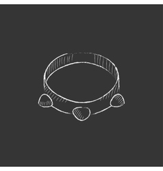 Tambourine drawn in chalk icon vector