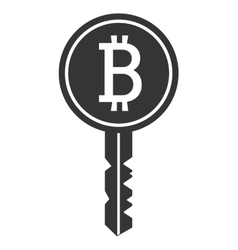 Black and white key with bitcoin signal vector