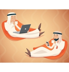 Arab Businessman Chat Laptop Mobile Phone Drink vector image vector image