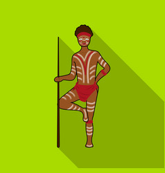 Astralian aborigine icon in flat style isolated on vector