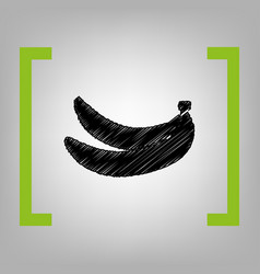 Banana simple sign black scribble icon in vector