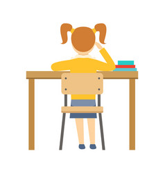 Bored girl sitting at the desk in classroom part vector