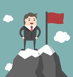 Businessman on mountain summit vector